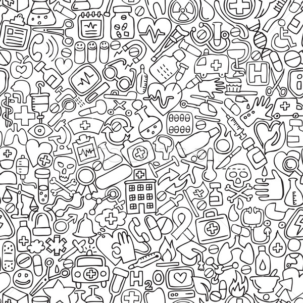 Medicine seamless pattern in black and white Stock photo © VOOK