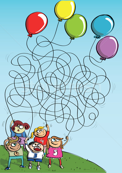 Children Playing with Balloons Maze Game  Stock photo © VOOK