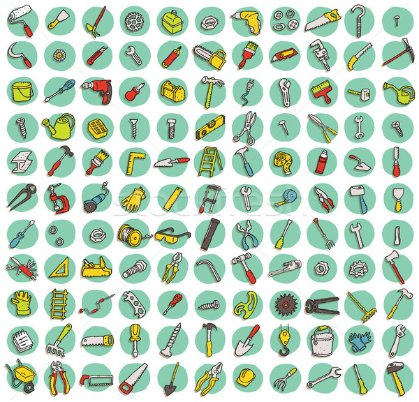 Collection of 121 tools doodled icons Stock photo © VOOK
