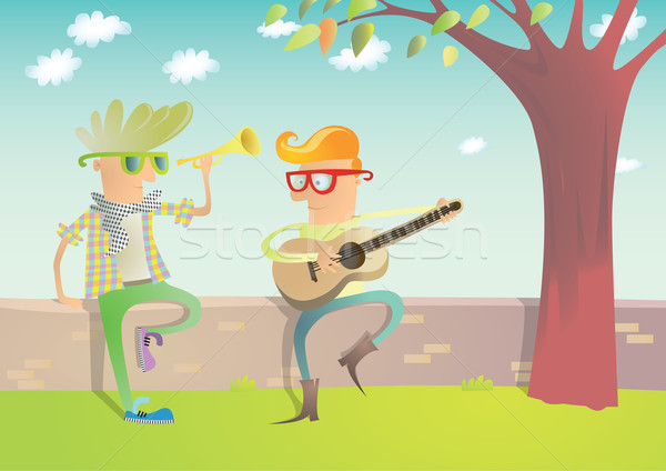 Two Hipsters Playing Guitar and Trumpet  Stock photo © VOOK