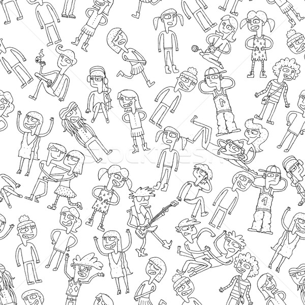 Singing children seamless pattern in black and white Stock photo © VOOK