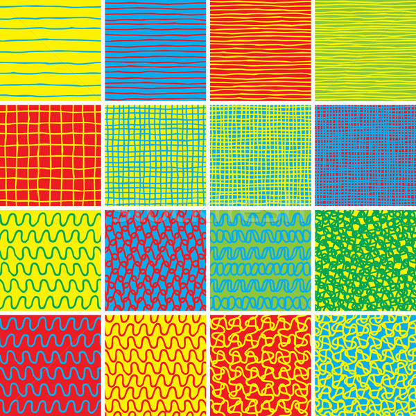 Stock photo: Basic Doodle Seamless Pattern Set No.1 in colors