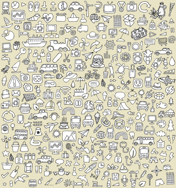 XXL Doodle Icons Set No.3 Stock photo © VOOK