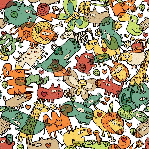 állatok tárgyak végtelen minta kollázs firka rajzok Stock fotó © VOOK