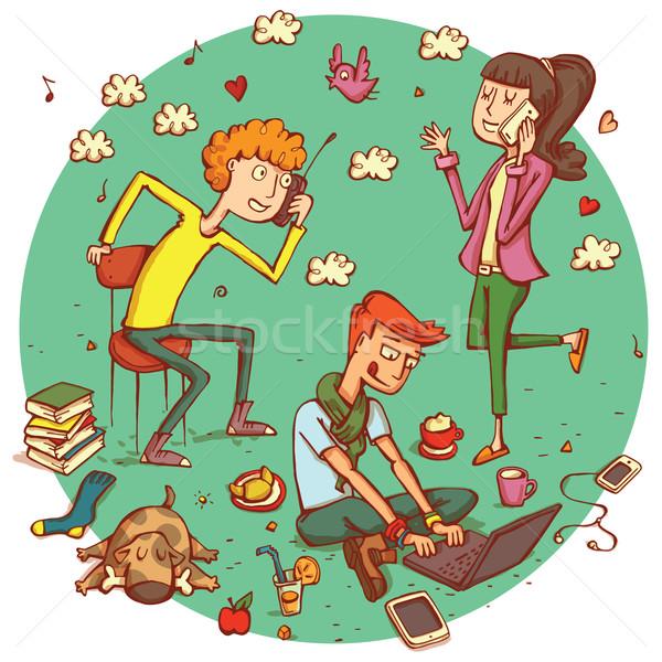 связь люди подростков изолированный иллюстрация Сток-фото © VOOK