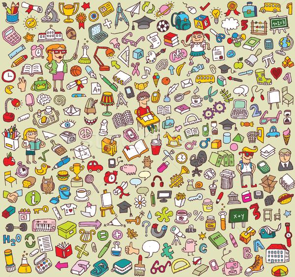 Grande escolas educação ícones coleção numeroso Foto stock © VOOK