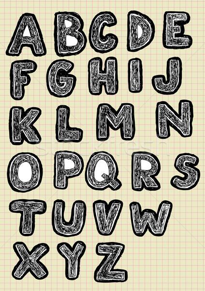 Fonte conjunto cartas preto branco Foto stock © VOOK