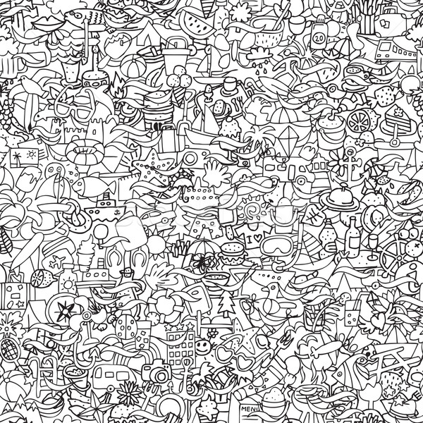 Holidays seamless pattern in black and white Stock photo © VOOK