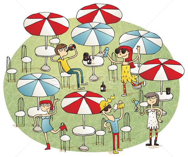 Młodych ludzi plaży bar ilustracja Zdjęcia stock © VOOK
