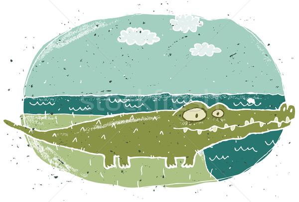 Kézzel rajzolt grunge illusztráció aranyos krokodil eps8 Stock fotó © VOOK