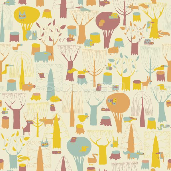 Woodland Animals seamless pattern  Stock photo © VOOK