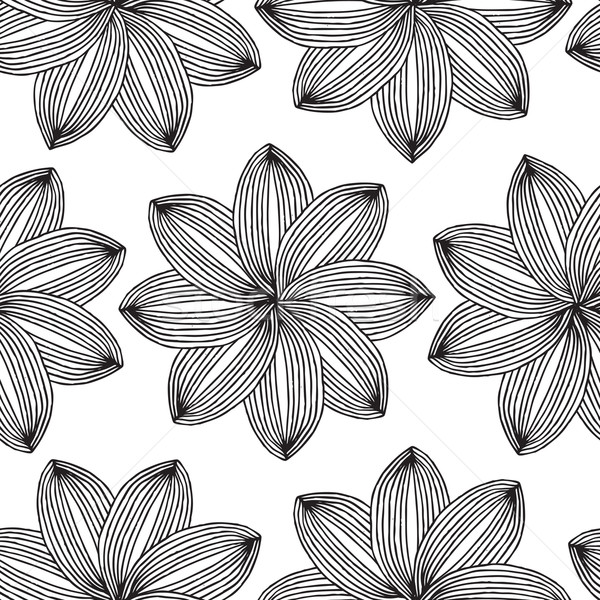 Geometric Flower seamless pattern in black and white  Stock photo © VOOK