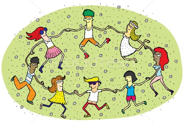 Jovens dança círculo grama verde campo flores Foto stock © VOOK