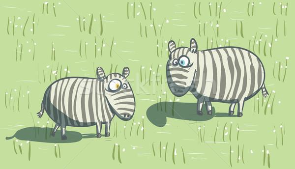 Zèbres savane illustration eps10 vecteur ciel Photo stock © VOOK