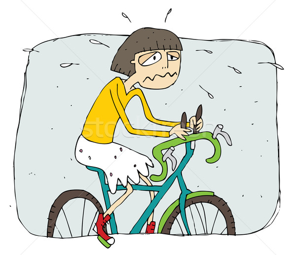 Exhausted girl riding a bike cartoon Stock photo © VOOK