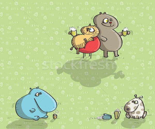 Hayvanlar yeşil örnek eps10 vektör Stok fotoğraf © VOOK