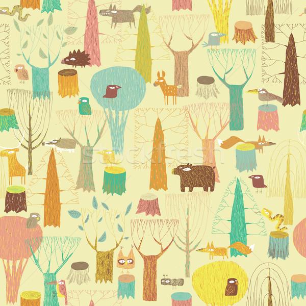 Гранж животные цветами рисованной иллюстрация Сток-фото © VOOK