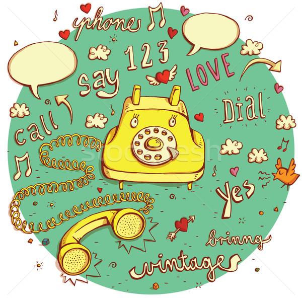 Télécommunications objets vintage téléphone personnage signes Photo stock © VOOK