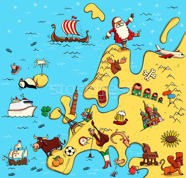 Illusztrált térkép Európa vicces tipikus tárgyak Stock fotó © VOOK