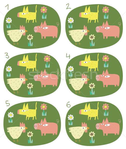 Match Pairs Visual Game: Animals Stock photo © VOOK