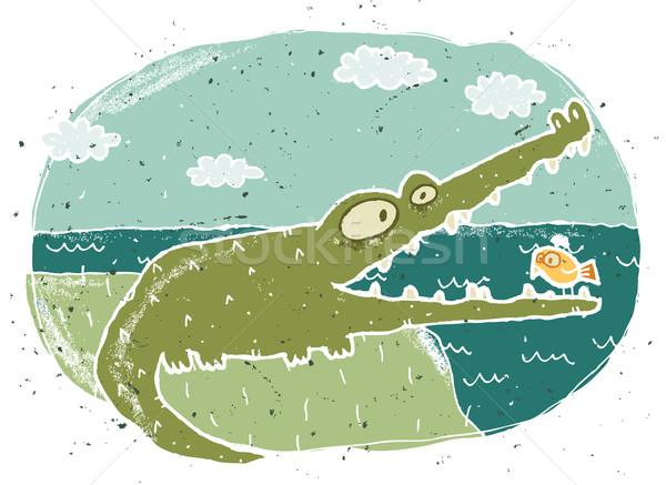 Сток-фото: рисованной · Гранж · иллюстрация · Cute · крокодила · eps8
