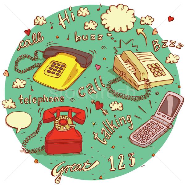 Telekomünikasyon nesneler ayarlamak farklı işaretleri Stok fotoğraf © VOOK