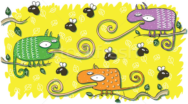 Chameleons and Flies Cartoon Set Stock photo © VOOK