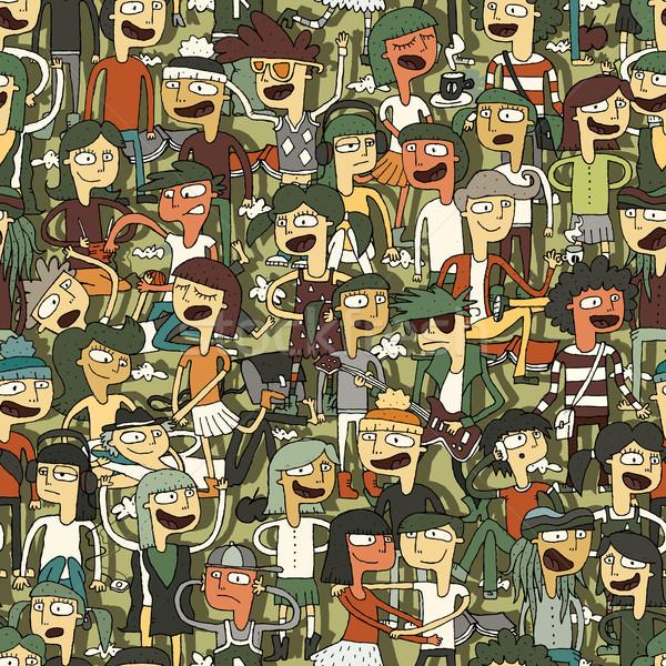 Singing children seamless pattern Stock photo © VOOK