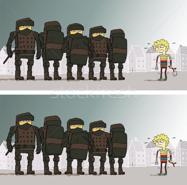 Foto stock: Polícia · diferenças · jogo · tarefa · encontrar · 10