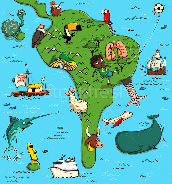 Illustrated Map of South America Stock photo © VOOK