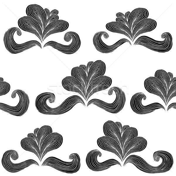 Barroco flor blanco negro dibujado a mano tinta Foto stock © VOOK