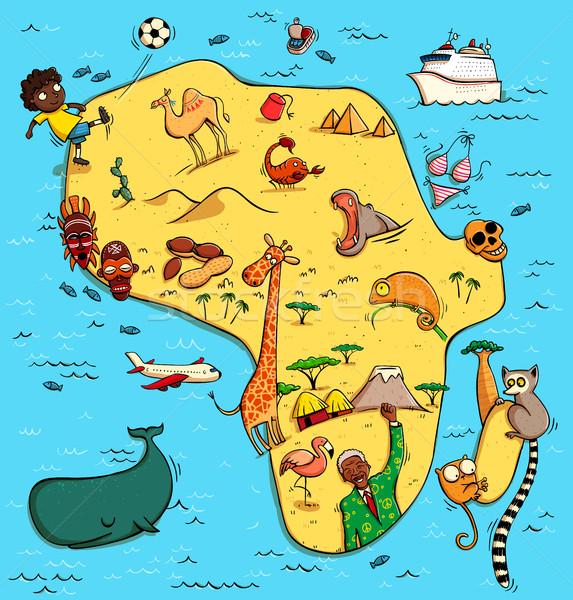 Ilustrado mapa África engraçado típico objetos Foto stock © VOOK