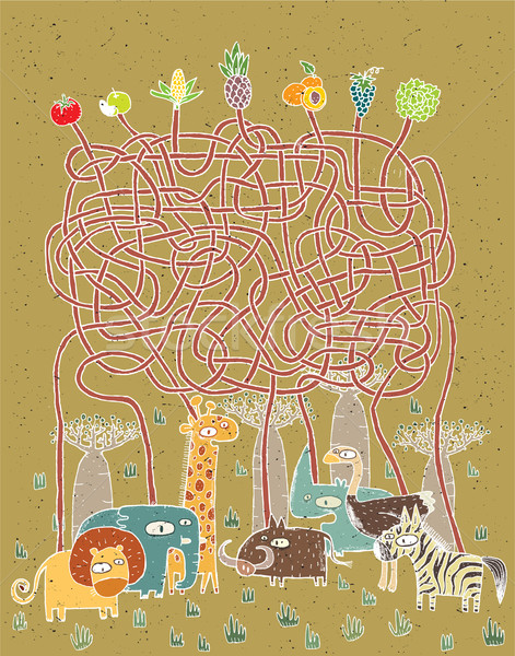Hayvanlar gıda labirent oyun çocuklar örnek Stok fotoğraf © VOOK