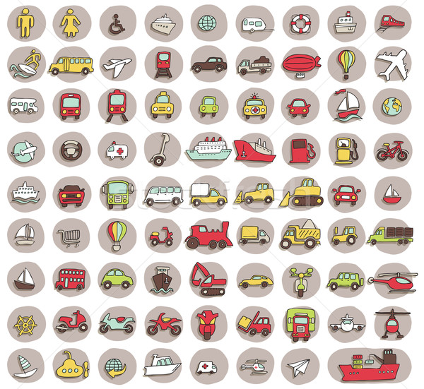 Collection of 80 transportation doodled icons  Stock photo © VOOK
