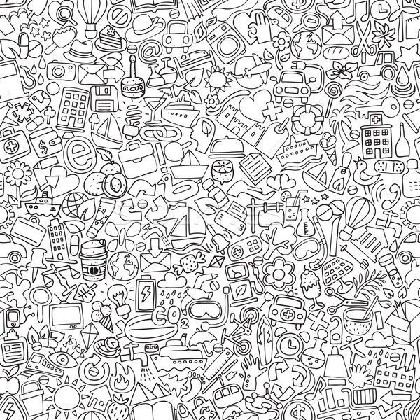Symbols seamless pattern in black and white Stock photo © VOOK