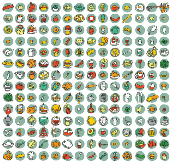 коллекция продовольствие кухне иконки Тени цветы Сток-фото © VOOK