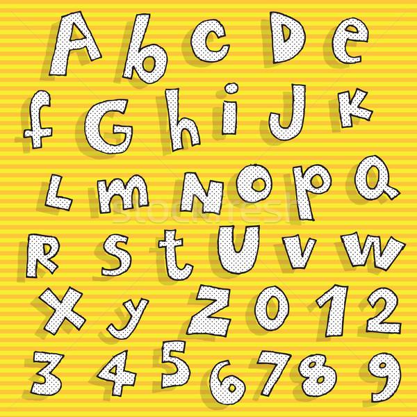 ストックフォト: 幼稚な · 手描き · アルファベット · パターン · オレンジ · 実例
