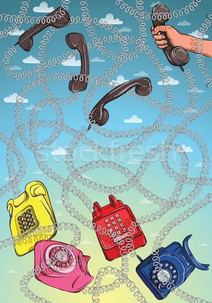 Telefone arame labirinto jogo responder rosa Foto stock © VOOK