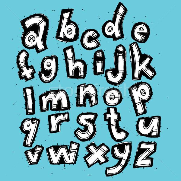 Kézzel rajzolt grunge trendi ábécé kék illusztráció Stock fotó © VOOK
