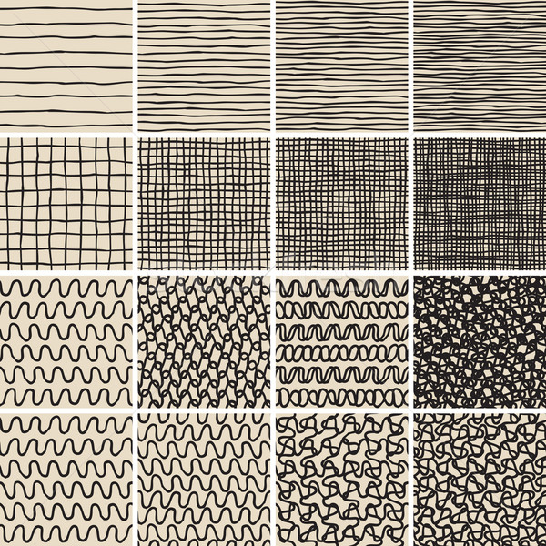 Basic Doodle Seamless Pattern Set No.1 in black and white  Stock photo © VOOK