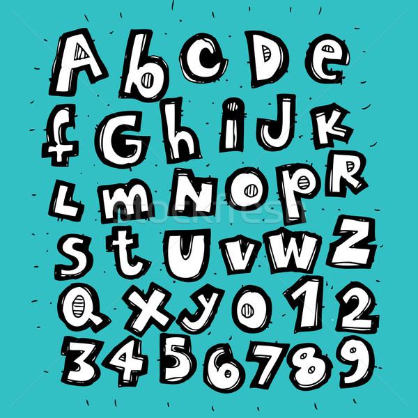 Hand gezeichnet trendy Alphabet blau Illustration eps8 Stock foto © VOOK