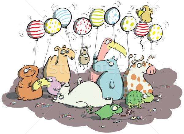 Animais balões doces ilustração eps10 vetor Foto stock © VOOK