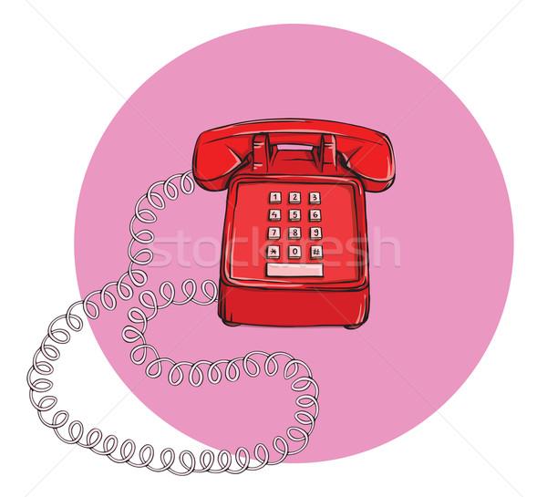 Foto stock: Vintage · telefone · ilustração · eps10 · vetor