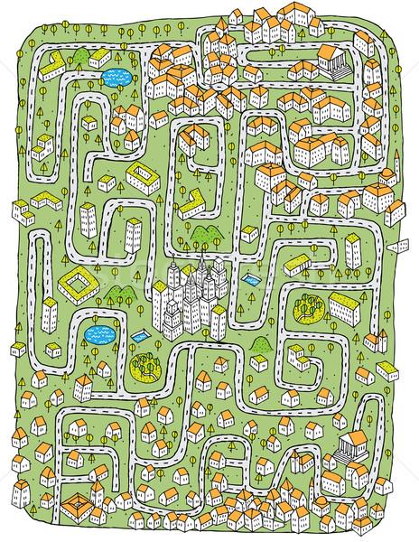Foto stock: Urbano · paisagem · labirinto · jogo · tarefa · encontrar