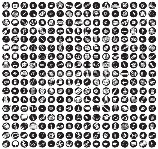 коллекция школы образование иконки черный индивидуальный Сток-фото © VOOK