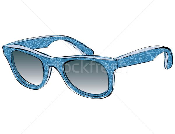 Retro napszemüveg minta firka izolált fehér Stock fotó © VOOK