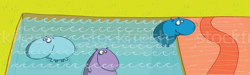 Бассейн иллюстрация eps10 вектора пейзаж области Сток-фото © VOOK