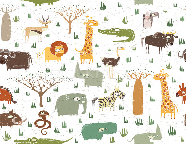 Grunge African Animals Seamless Pattern  Stock photo © VOOK