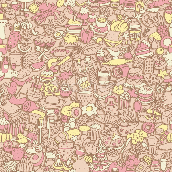 étel végtelen minta mini firka rajzok ikonok Stock fotó © VOOK