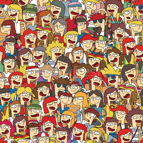 énekel gyerekek kórus végtelen minta fiatalok illusztráció Stock fotó © VOOK